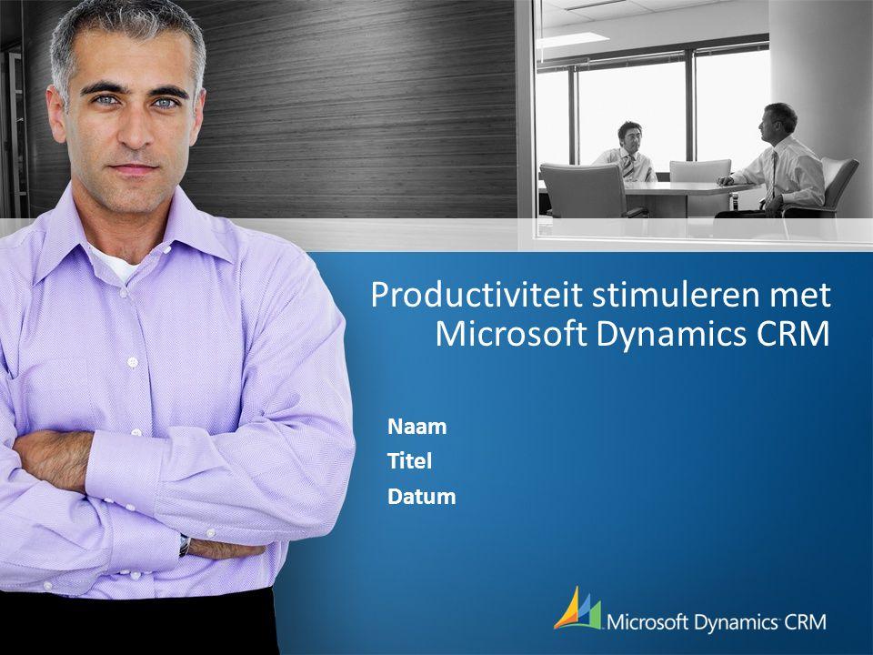 Productiviteit stimuleren met Microsoft Dynamics CRM Naam Titel Datum