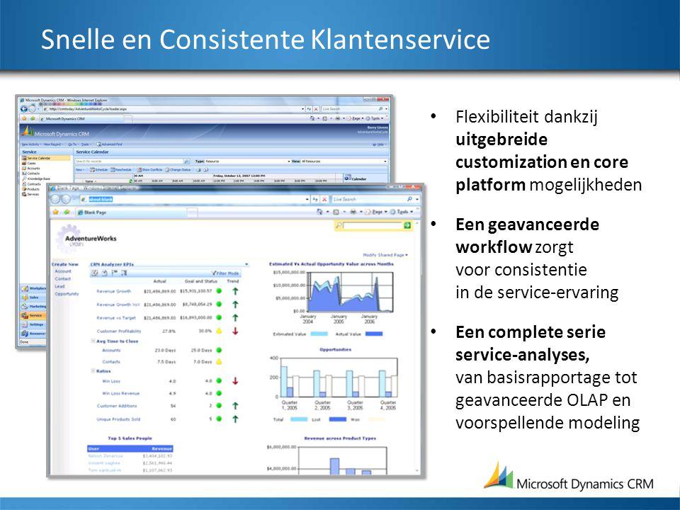 Snelle en Consistente Klantenservice Flexibiliteit dankzij uitgebreide customization en core platform mogelijkheden Een geavanceerde workflow zorgt voor consistentie in de service-ervaring Een complete serie service-analyses, van basisrapportage tot geavanceerde OLAP en voorspellende modeling