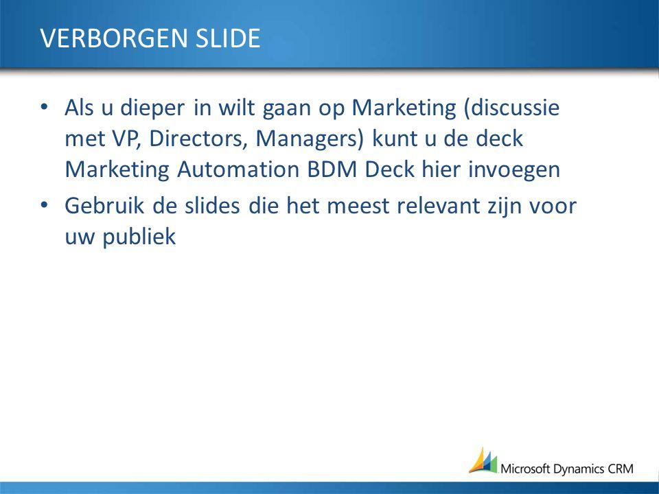 VERBORGEN SLIDE Als u dieper in wilt gaan op Marketing (discussie met VP, Directors, Managers) kunt u de deck Marketing Automation BDM Deck hier invoegen Gebruik de slides die het meest relevant zijn voor uw publiek