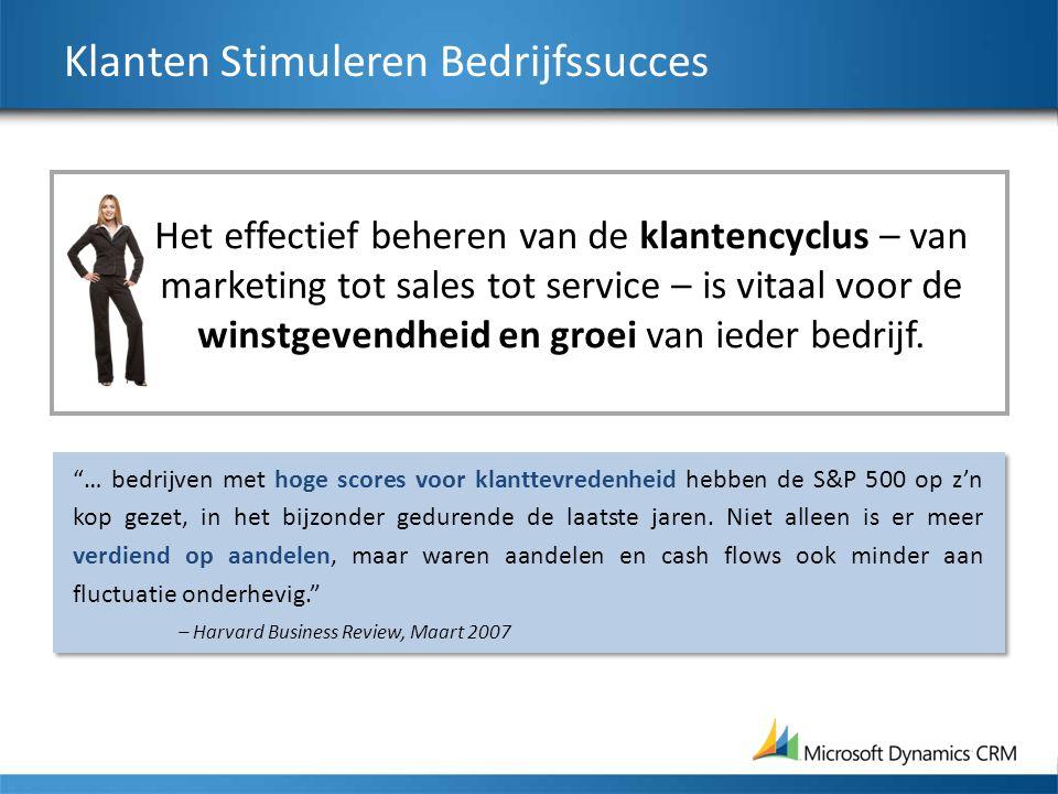 Klanten Stimuleren Bedrijfssucces Het effectief beheren van de klantencyclus – van marketing tot sales tot service – is vitaal voor de winstgevendheid en groei van ieder bedrijf.