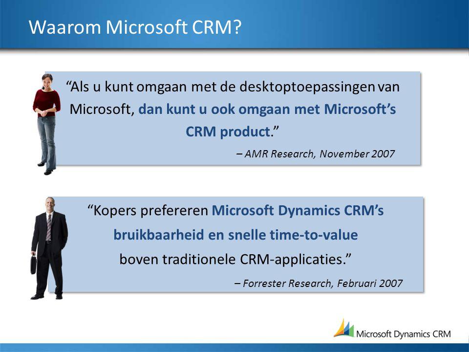"Waarom Microsoft CRM? ""Kopers prefereren Microsoft Dynamics CRM's bruikbaarheid en snelle time-to-value boven traditionele CRM-applicaties."" – Forrest"