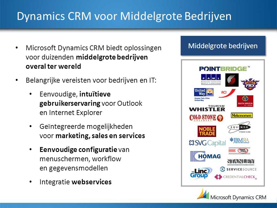Dynamics CRM voor Middelgrote Bedrijven Microsoft Dynamics CRM biedt oplossingen voor duizenden middelgrote bedrijven overal ter wereld Belangrijke vereisten voor bedrijven en IT: Eenvoudige, intuïtieve gebruikerservaring voor Outlook en Internet Explorer Ge ï ntegreerde mogelijkheden voor marketing, sales en services Eenvoudige configuratie van menuschermen, workflow en gegevensmodellen Integratie webservices Middelgrote bedrijven