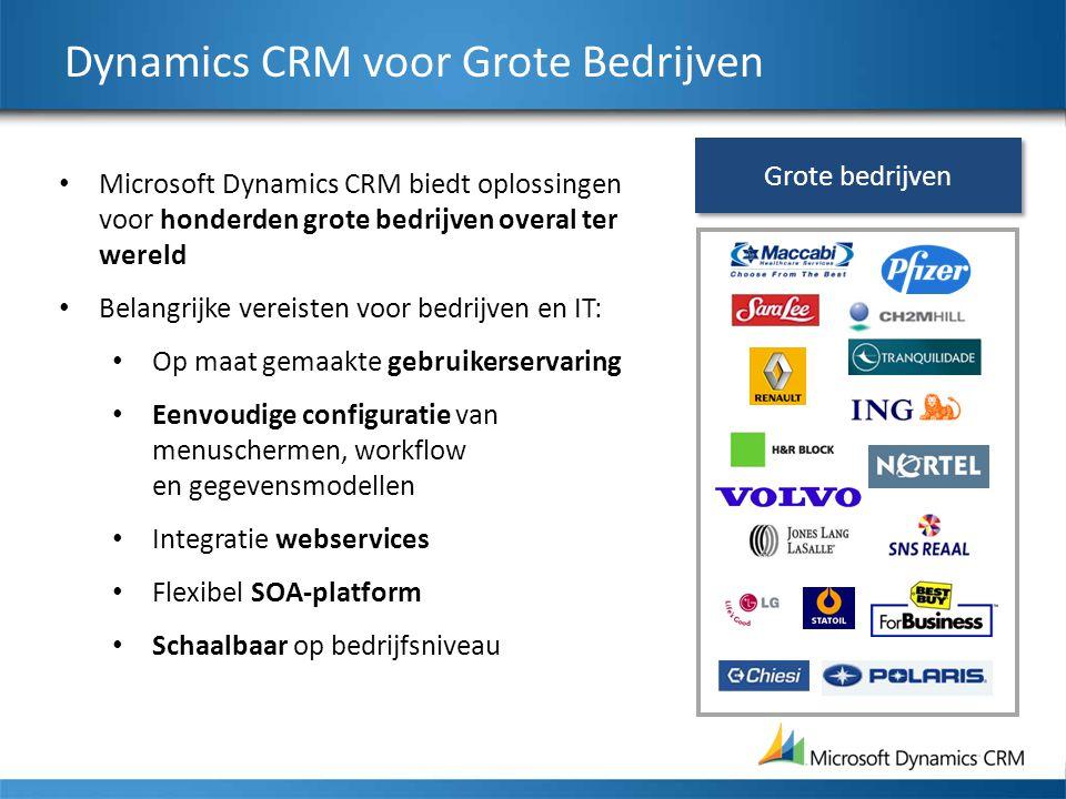 Dynamics CRM voor Grote Bedrijven Microsoft Dynamics CRM biedt oplossingen voor honderden grote bedrijven overal ter wereld Belangrijke vereisten voor bedrijven en IT: Op maat gemaakte gebruikerservaring Eenvoudige configuratie van menuschermen, workflow en gegevensmodellen Integratie webservices Flexibel SOA-platform Schaalbaar op bedrijfsniveau Grote bedrijven