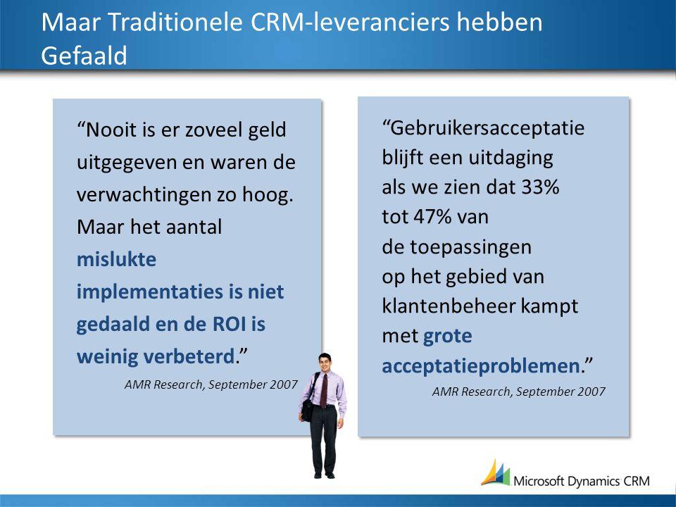 """Maar Traditionele CRM-leveranciers hebben Gefaald """"Gebruikersacceptatie blijft een uitdaging als we zien dat 33% tot 47% van de toepassingen op het ge"""