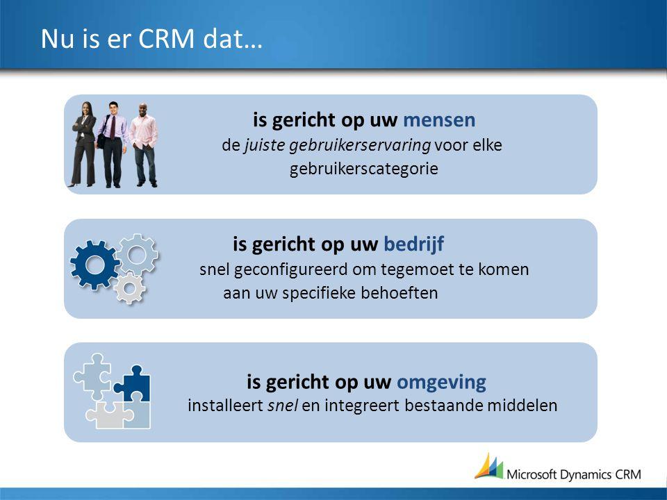 is gericht op uw mensen de juiste gebruikerservaring voor elke gebruikerscategorie Nu is er CRM dat… is gericht op uw bedrijf snel geconfigureerd om t