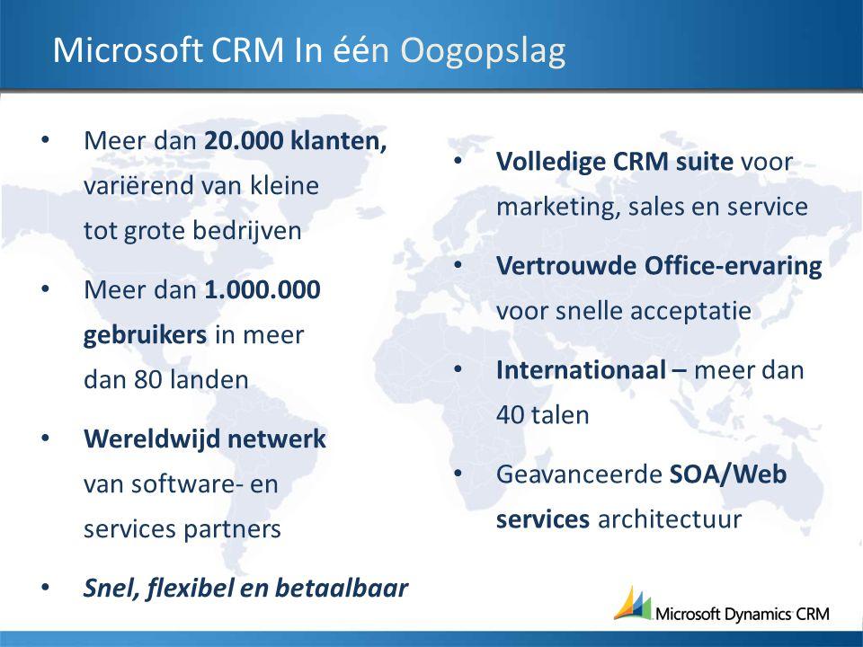 Microsoft CRM In één Oogopslag Meer dan 20.000 klanten, variërend van kleine tot grote bedrijven Meer dan 1.000.000 gebruikers in meer dan 80 landen W