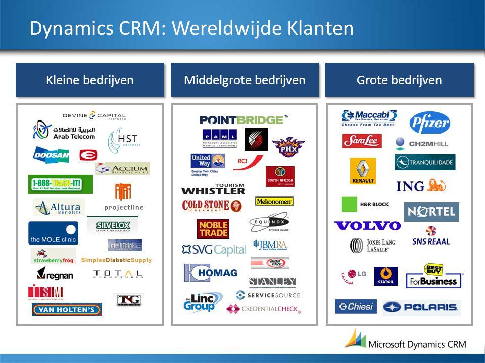 Middelgrote bedrijven Kleine bedrijven Grote bedrijven Dynamics CRM: Wereldwijde Klanten