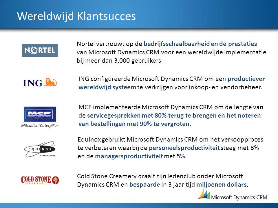 Wereldwijd Klantsucces Nortel vertrouwt op de bedrijfsschaalbaarheid en de prestaties van Microsoft Dynamics CRM voor een wereldwijde implementatie bij meer dan 3.000 gebruikers ING configureerde Microsoft Dynamics CRM om een productiever wereldwijd systeem te verkrijgen voor inkoop- en vendorbeheer.