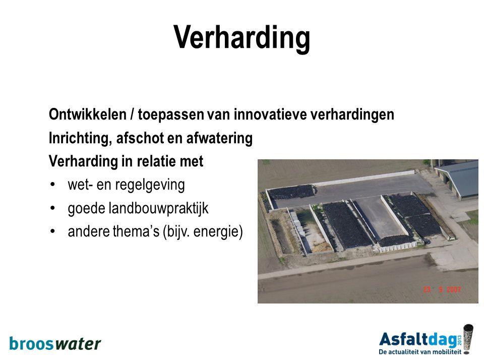 Ontwikkelen / toepassen van innovatieve verhardingen Inrichting, afschot en afwatering Verharding in relatie met wet- en regelgeving goede landbouwpra