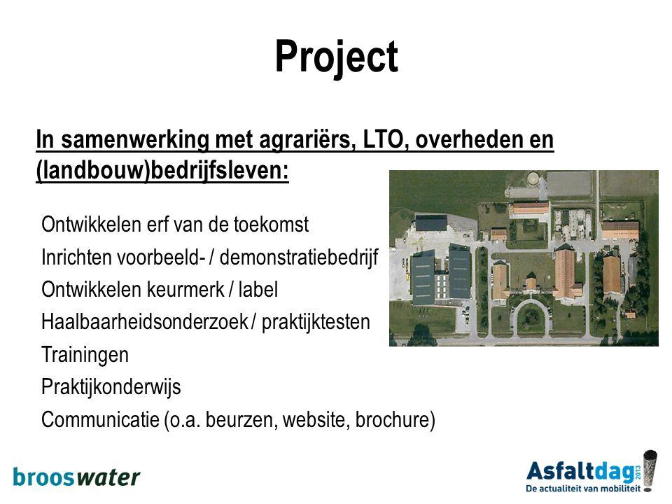 Project Ontwikkelen erf van de toekomst Inrichten voorbeeld- / demonstratiebedrijf Ontwikkelen keurmerk / label Haalbaarheidsonderzoek / praktijkteste