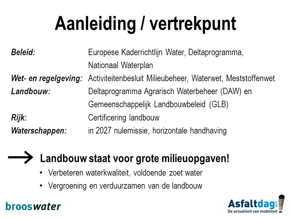 Aanleiding / vertrekpunt Beleid: Europese Kaderrichtlijn Water, Deltaprogramma, Nationaal Waterplan Wet- en regelgeving: Activiteitenbesluit Milieubeh
