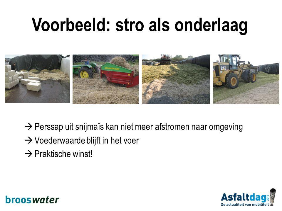 Voorbeeld: stro als onderlaag  Perssap uit snijmaïs kan niet meer afstromen naar omgeving  Voederwaarde blijft in het voer  Praktische winst!