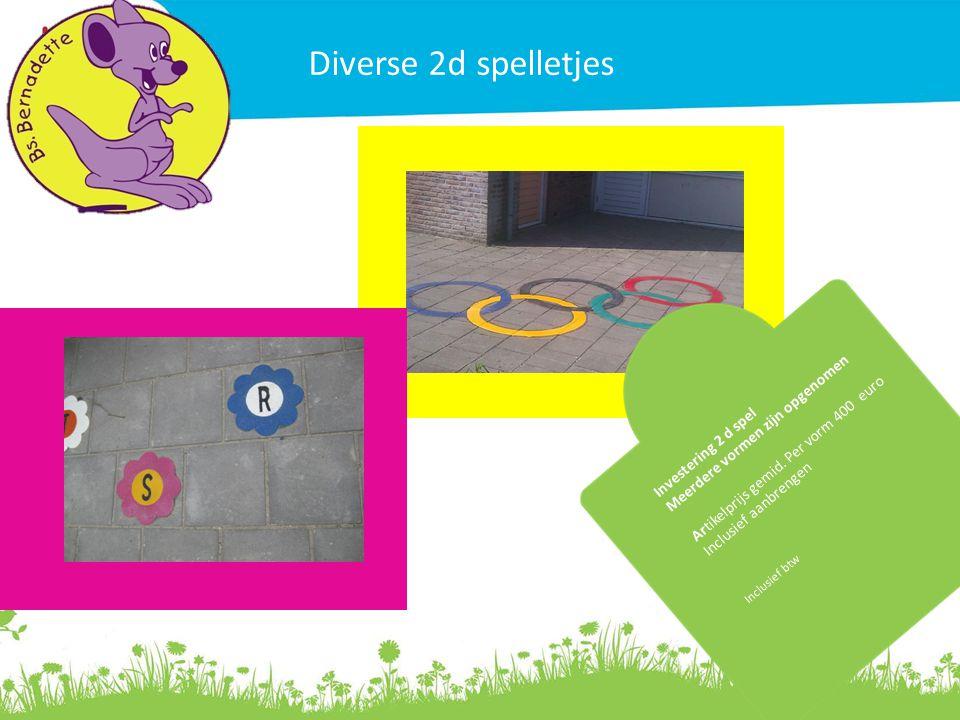 Diverse 2d spelletjes Investering 2 d spel Meerdere vormen zijn opgenomen Artikelprijs gemid. Per vorm 400 euro Inclusief aanbrengen Inclusief btw