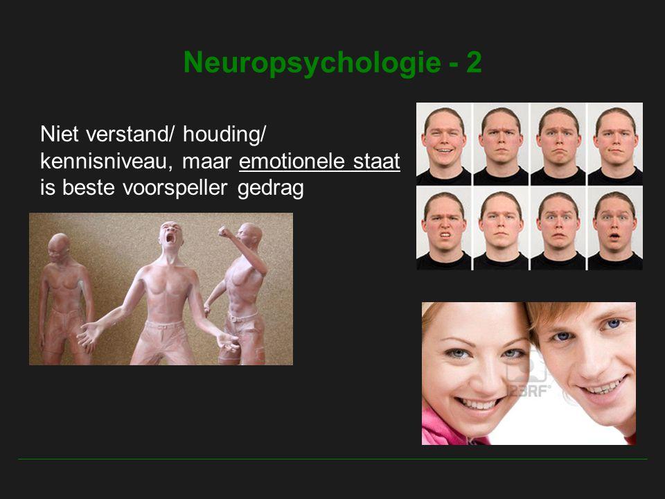 Neuropsychologie - 2 Niet verstand/ houding/ kennisniveau, maar emotionele staat is beste voorspeller gedrag