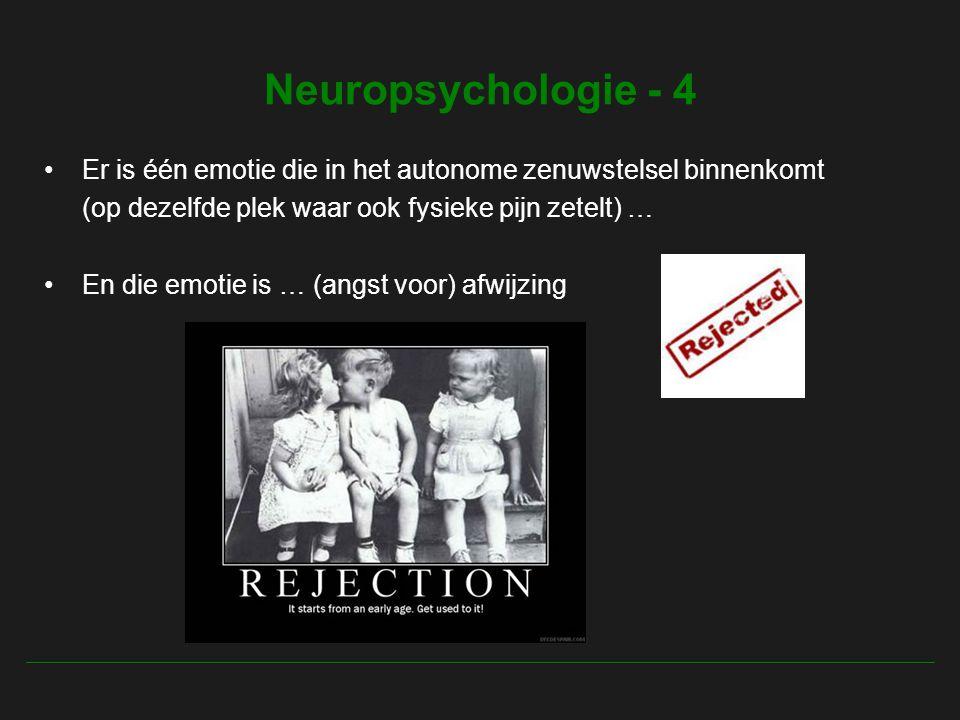 Neuropsychologie - 4 Er is één emotie die in het autonome zenuwstelsel binnenkomt (op dezelfde plek waar ook fysieke pijn zetelt) … En die emotie is … (angst voor) afwijzing