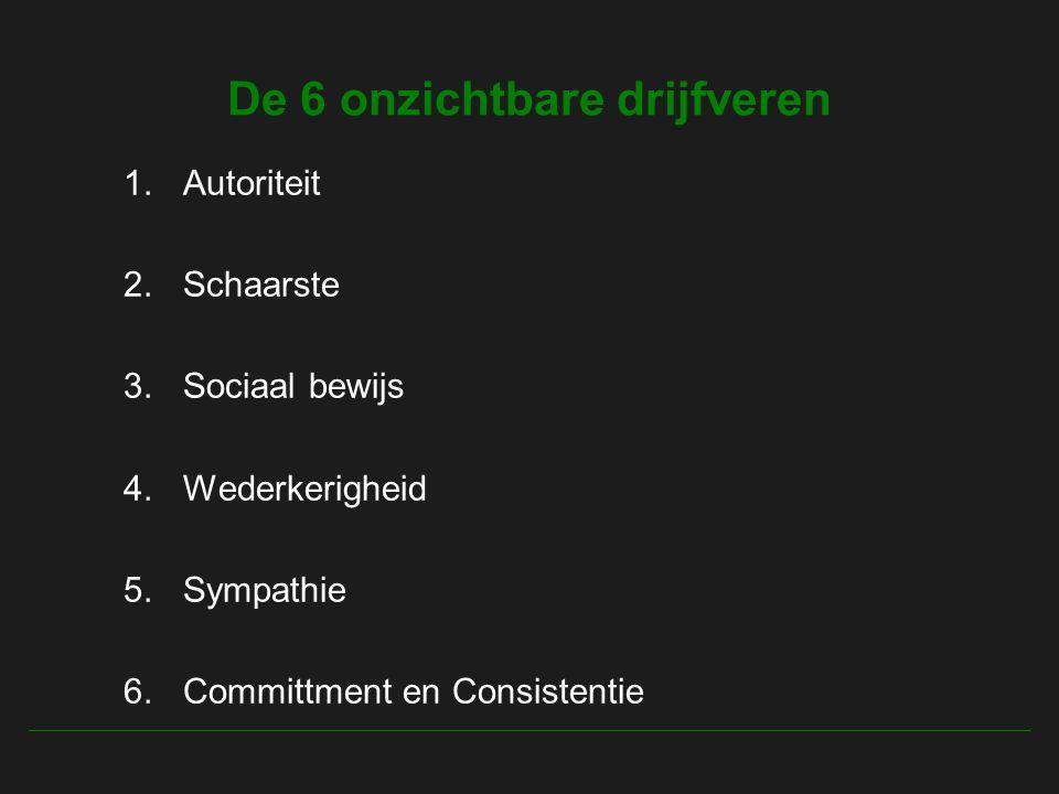 De 6 onzichtbare drijfveren 1.Autoriteit 2.Schaarste 3.Sociaal bewijs 4.Wederkerigheid 5.Sympathie 6.Committment en Consistentie