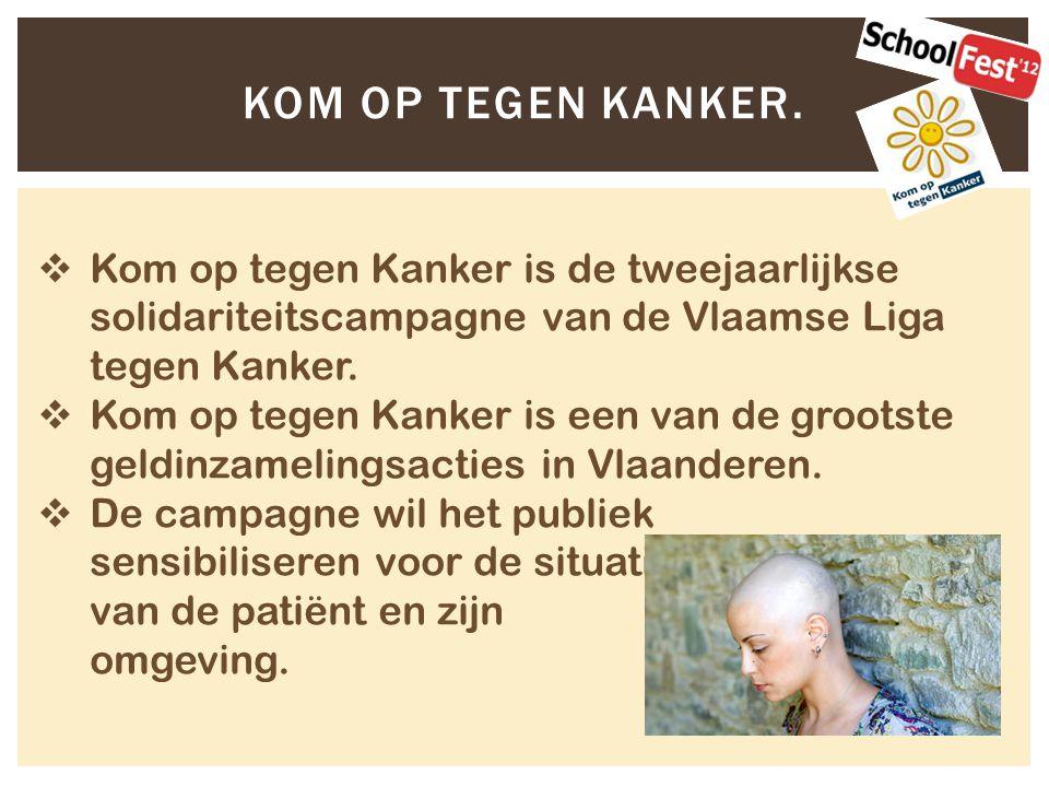  Kom op tegen Kanker is de tweejaarlijkse solidariteitscampagne van de Vlaamse Liga tegen Kanker.