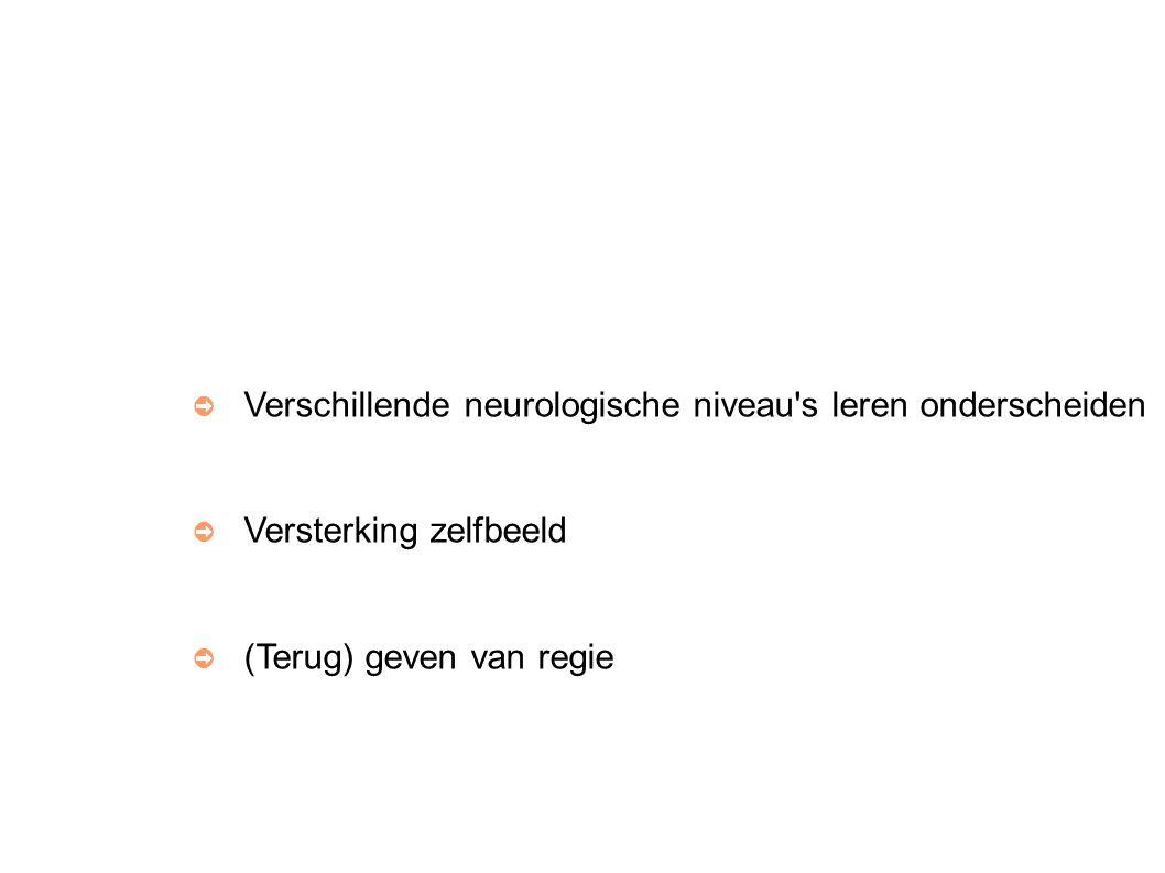 ➲ Verschillende neurologische niveau s leren onderscheiden ➲ Versterking zelfbeeld ➲ (Terug) geven van regie