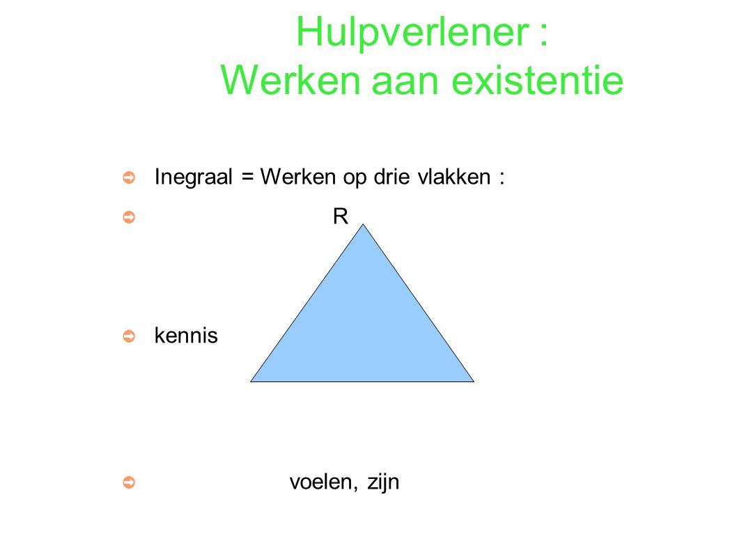 Hulpverlener : Werken aan existentie ➲ Inegraal = Werken op drie vlakken : ➲ R ➲ kennis handelen ➲ voelen, zijn