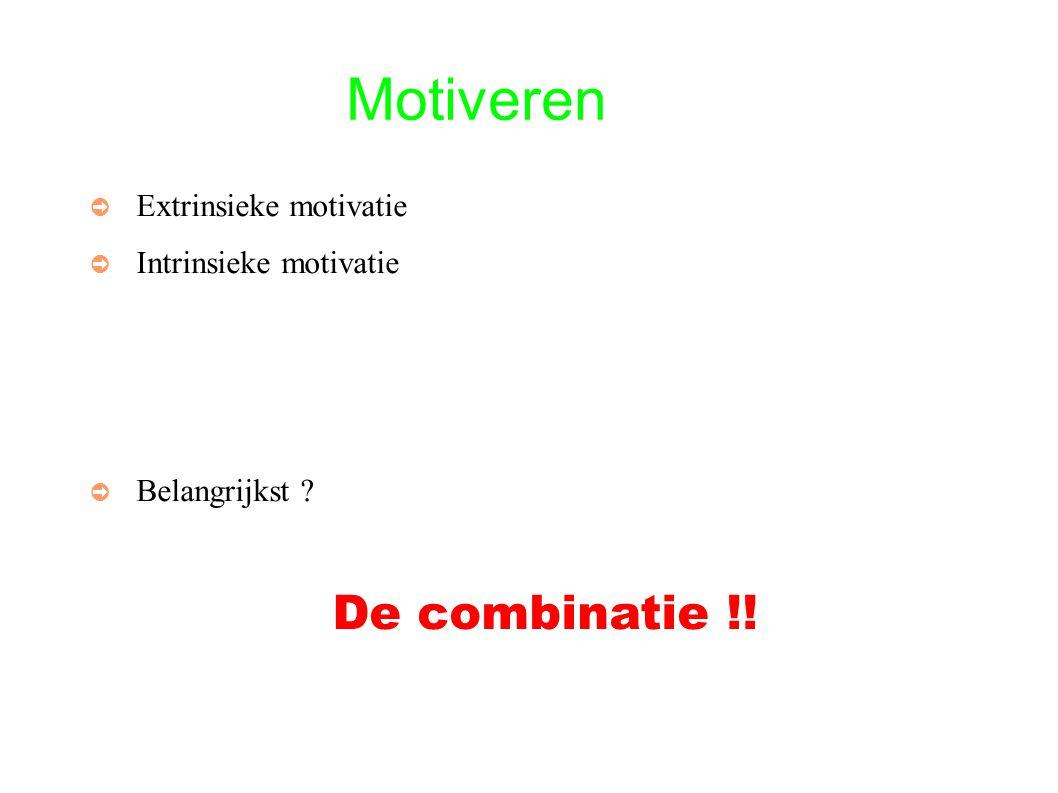 Motiveren ➲ Extrinsieke motivatie ➲ Intrinsieke motivatie ➲ Belangrijkst De combinatie !!