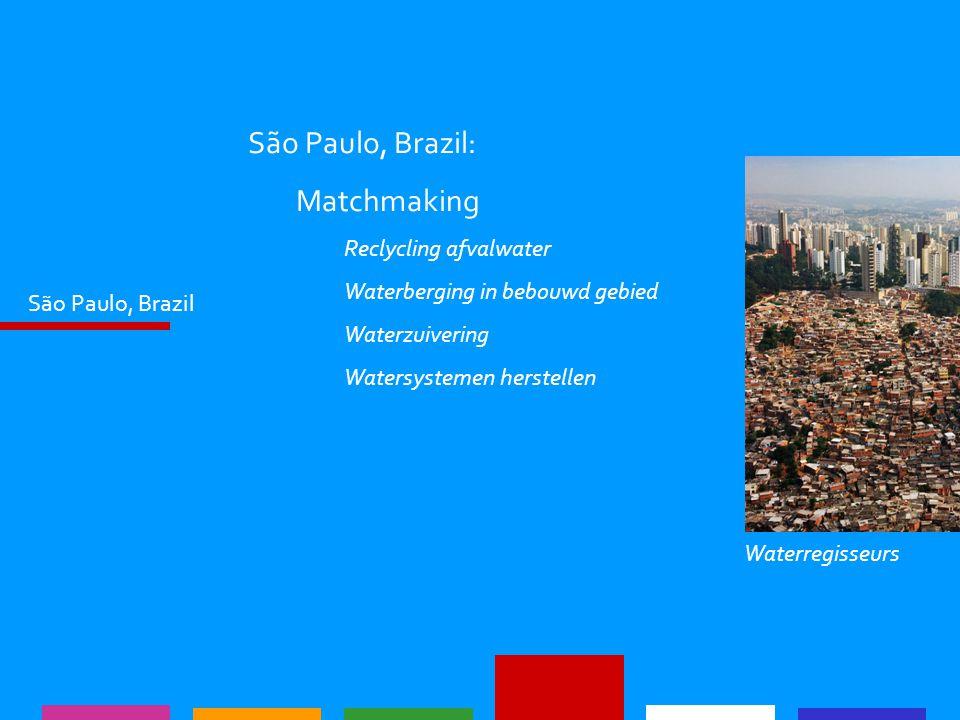 São Paulo, Brazil São Paulo, Brazil: Matchmaking Reclycling afvalwater Waterberging in bebouwd gebied Waterzuivering Watersystemen herstellen Waterreg