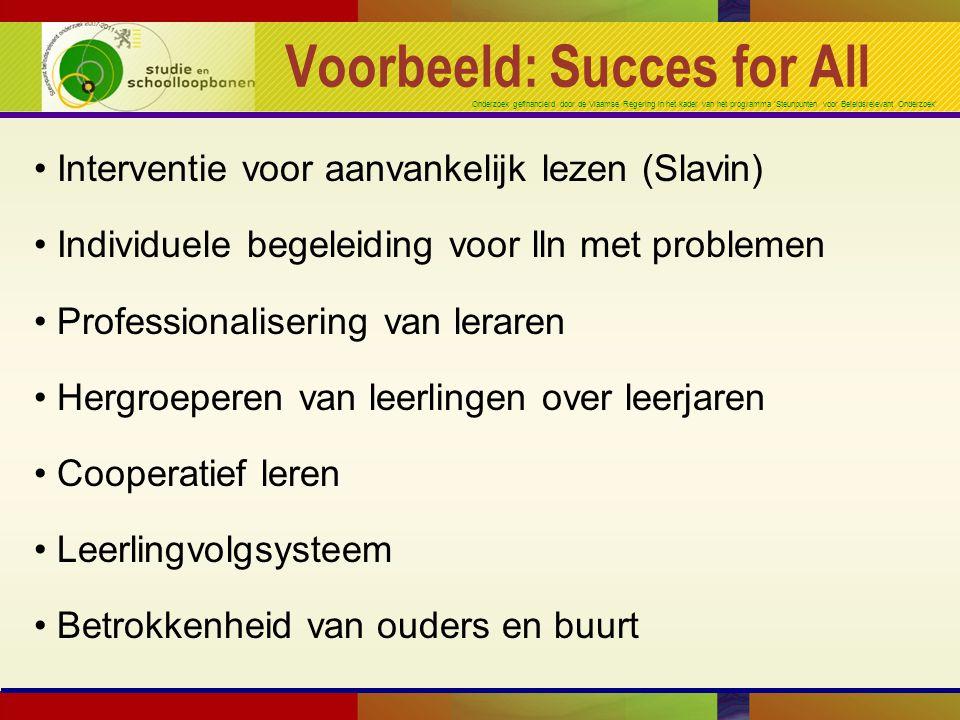 Onderzoek gefinancierd door de Vlaamse Regering in het kader van het programma 'Steunpunten voor Beleidsrelevant Onderzoek' Evaluatie Succes for All Uitgetest in 35 scholen gedurende 3 jaar K3-L1L2-L5 18 scholeninterventiecontrole 17 scholencontroleinterventie => Gunstige effecten op lezen !