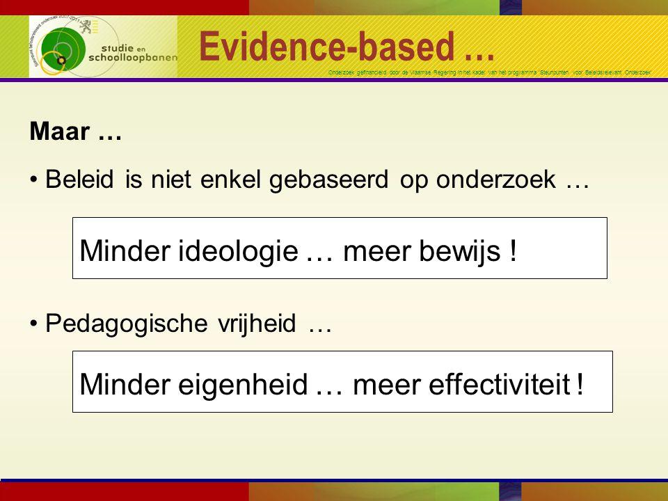 Onderzoek gefinancierd door de Vlaamse Regering in het kader van het programma 'Steunpunten voor Beleidsrelevant Onderzoek' Evidence-based … Maar … Beleid is niet enkel gebaseerd op onderzoek … Pedagogische vrijheid … Minder ideologie … meer bewijs .