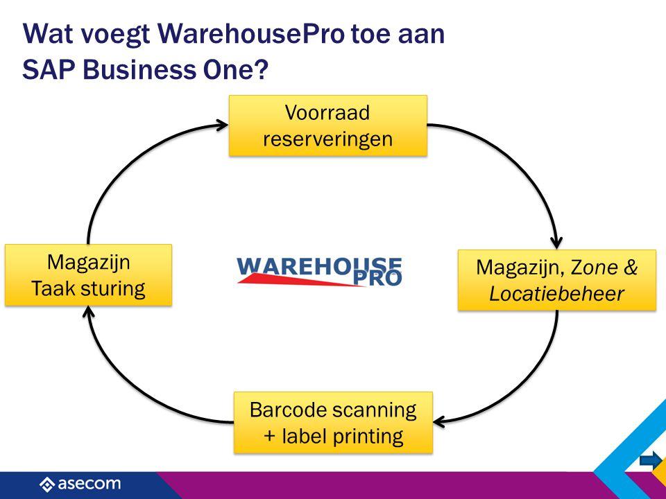 Wat voegt WarehousePro toe aan SAP Business One? Voorraad reserveringen Magazijn Taak sturing Magazijn Taak sturing Magazijn, Zone & Locatiebeheer Bar