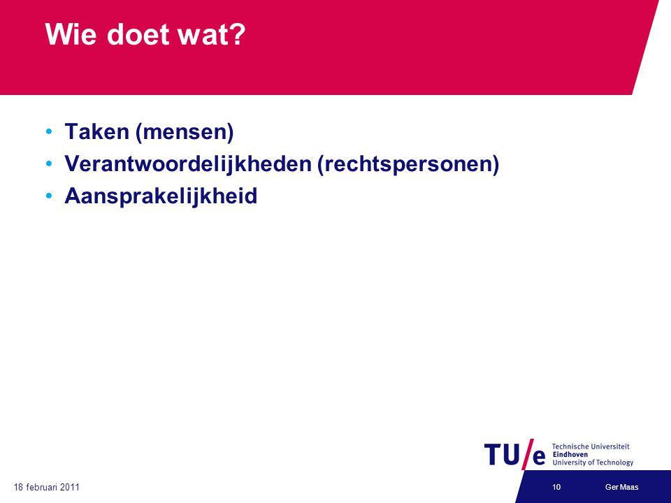 18 februari 2011 Ger Maas10 Wie doet wat? Taken (mensen) Verantwoordelijkheden (rechtspersonen) Aansprakelijkheid