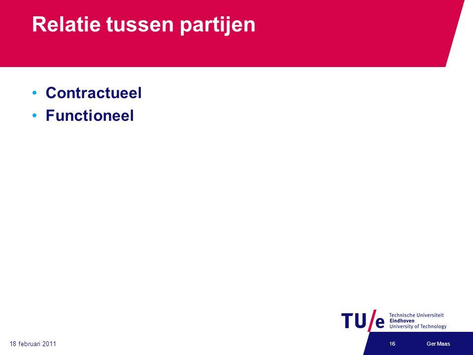 18 februari 2011 Ger Maas16 Relatie tussen partijen Contractueel Functioneel