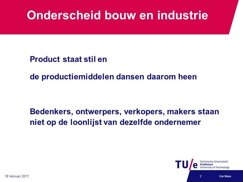 Ger Maas2 Onderscheid bouw en industrie Product staat stil en de productiemiddelen dansen daarom heen Bedenkers, ontwerpers, verkopers, makers staan niet op de loonlijst van dezelfde ondernemer