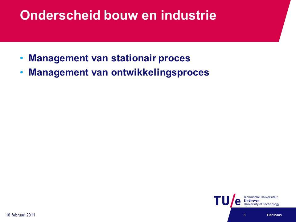 18 februari 2011 Ger Maas3 Onderscheid bouw en industrie Management van stationair proces Management van ontwikkelingsproces