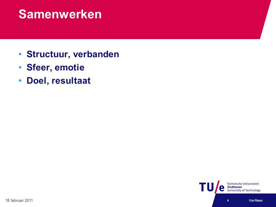 18 februari 2011 Ger Maas4 Samenwerken Structuur, verbanden Sfeer, emotie Doel, resultaat