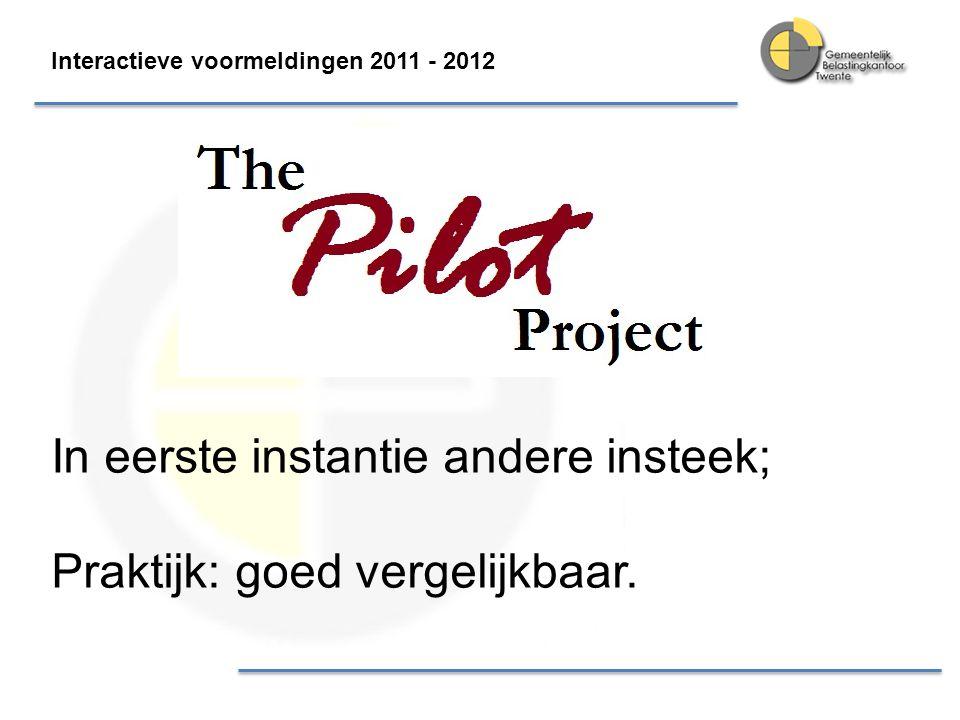 Interactieve voormeldingen 2011 - 2012 In eerste instantie andere insteek; Praktijk: goed vergelijkbaar.