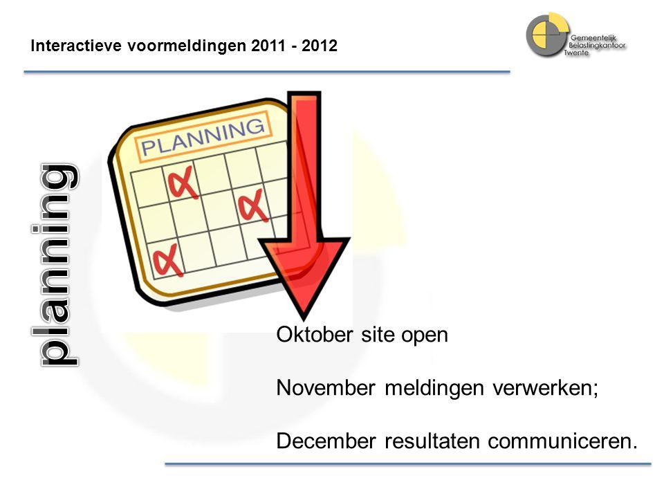 Interactieve voormeldingen 2011 - 2012 Oktober site open November meldingen verwerken; December resultaten communiceren.