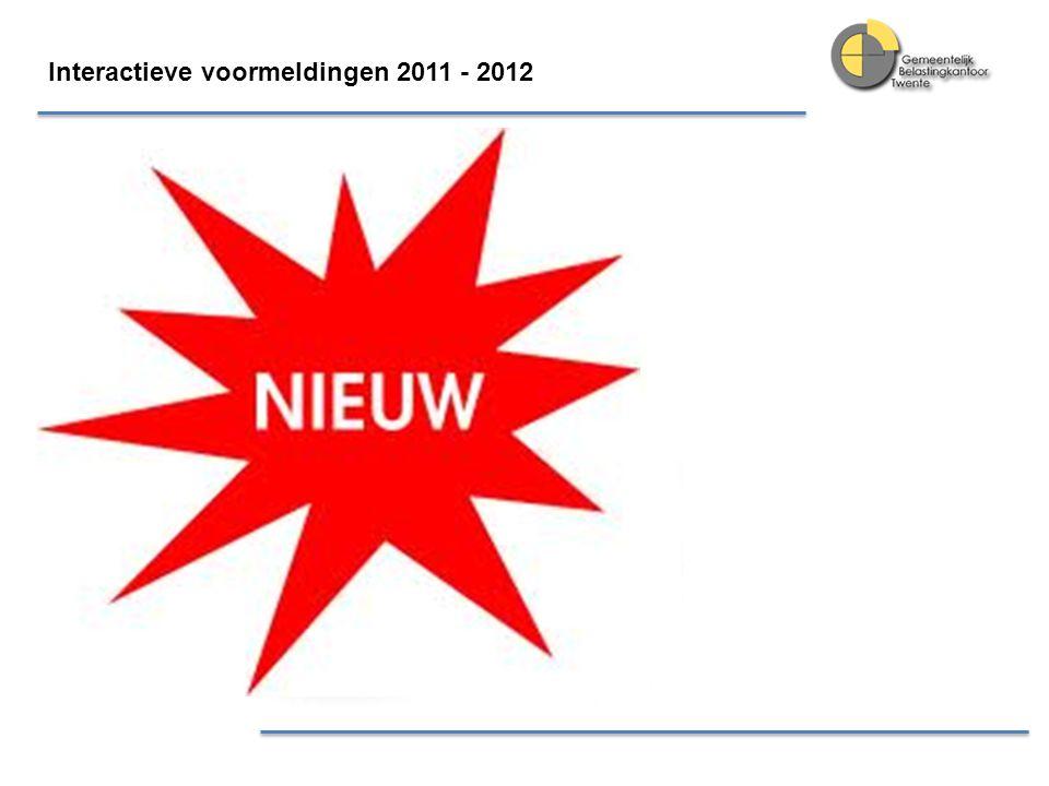 Interactieve voormeldingen 2011 - 2012 Deelnemers zijn tevreden Algemeen rapportcijfer initiatief 7,5 Deelnemers geven vooral een 7 of hoger omdat ze het prettig vonden vroegtijdig inzicht te krijgen.