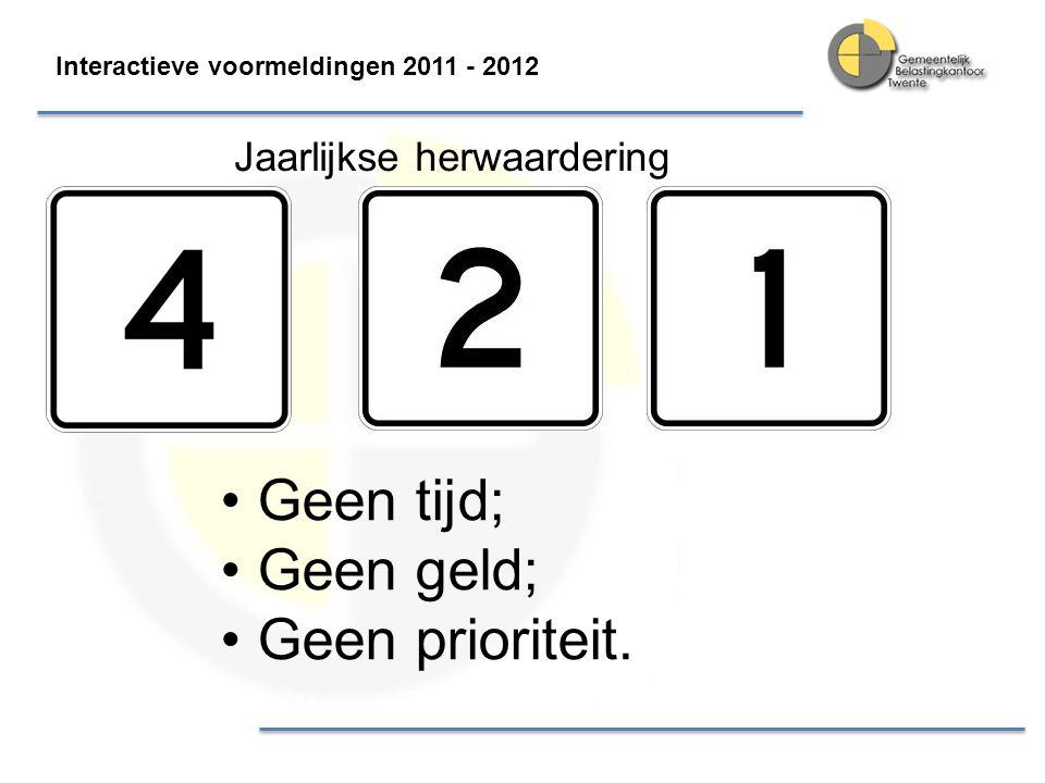 Interactieve voormeldingen 2011 - 2012 Doorbraak in Dienstverlening Doorbraak WOZ