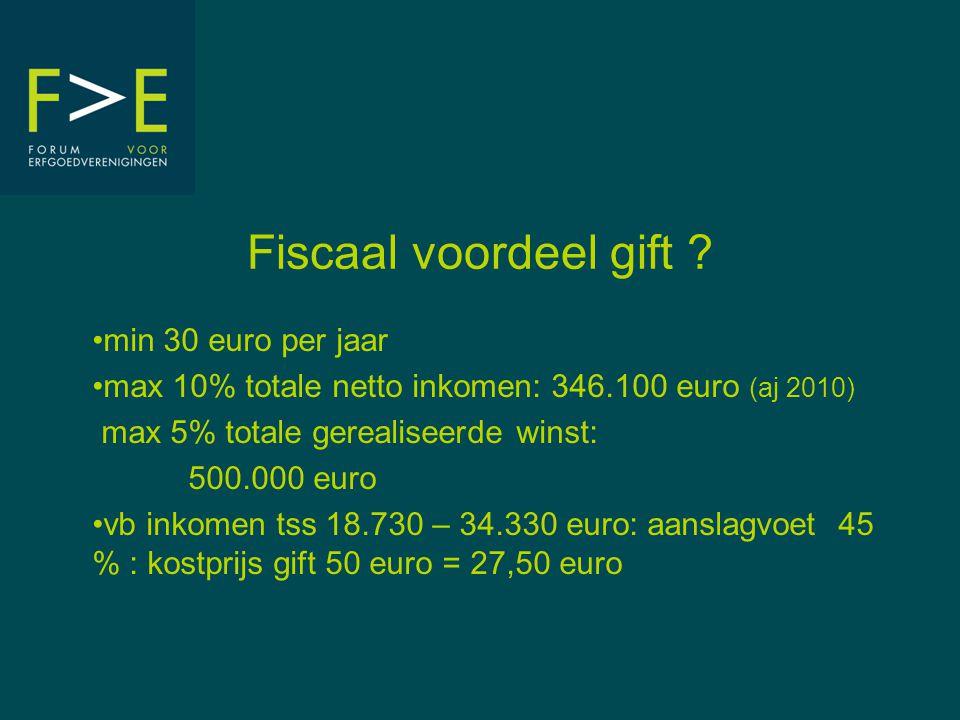 Fiscaal voordeel gift ? min 30 euro per jaar max 10% totale netto inkomen: 346.100 euro (aj 2010) max 5% totale gerealiseerde winst: 500.000 euro vb i