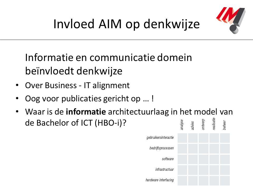 Invloed AIM op denkwijze Informatie en communicatie domein beïnvloedt denkwijze Over Business - IT alignment Oog voor publicaties gericht op … ! Waar