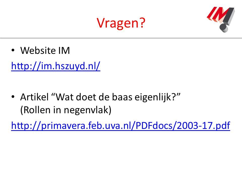 """Vragen? Website IM http://im.hszuyd.nl/ Artikel """"Wat doet de baas eigenlijk?"""" (Rollen in negenvlak) http://primavera.feb.uva.nl/PDFdocs/2003-17.pdf"""