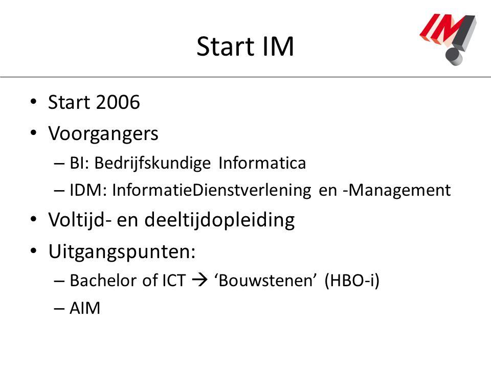 Start IM Start 2006 Voorgangers – BI: Bedrijfskundige Informatica – IDM: InformatieDienstverlening en -Management Voltijd- en deeltijdopleiding Uitgan