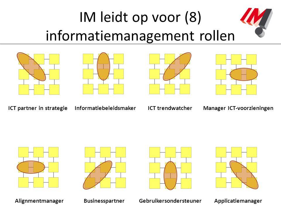 IM leidt op voor (8) informatiemanagement rollen ICT partner in strategieManager ICT-voorzieningenInformatiebeleidsmakerICT trendwatcher Alignmentmana