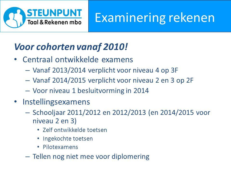 Examinering rekenen Voor cohorten vanaf 2010! Centraal ontwikkelde examens – Vanaf 2013/2014 verplicht voor niveau 4 op 3F – Vanaf 2014/2015 verplicht