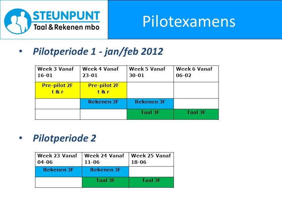 Pilotexamens Pilotperiode 1 - jan/feb 2012 Pilotperiode 2 Week 3 Vanaf 16-01 Week 4 Vanaf 23-01 Week 5 Vanaf 30-01 Week 6 Vanaf 06-02 Pre-pilot 2F t & r Pre-pilot 2F t & r Rekenen 3F Taal 3F Week 23 Vanaf 04-06 Week 24 Vanaf 11-06 Week 25 Vanaf 18-06 Rekenen 3F Taal 3F