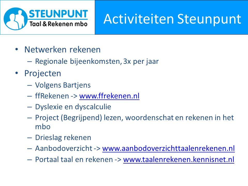 Activiteiten Steunpunt Netwerken rekenen – Regionale bijeenkomsten, 3x per jaar Projecten – Volgens Bartjens – ffRekenen -> www.ffrekenen.nlwww.ffreke