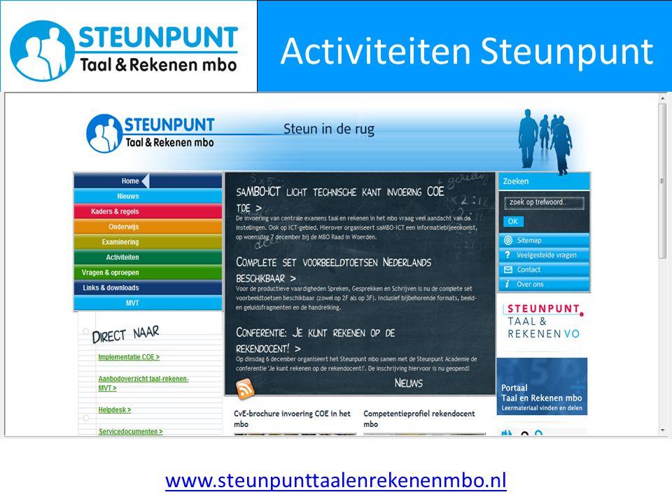 Activiteiten Steunpunt www.steunpunttaalenrekenenmbo.nl