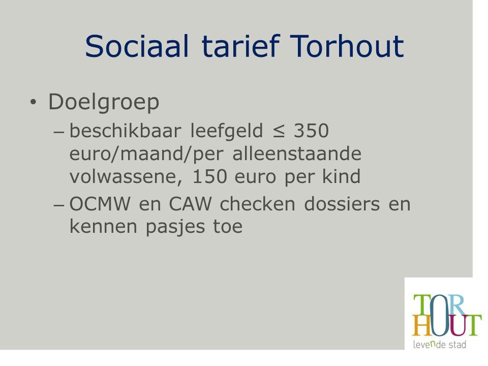 Sociaal tarief Torhout Doelgroep – beschikbaar leefgeld ≤ 350 euro/maand/per alleenstaande volwassene, 150 euro per kind – OCMW en CAW checken dossiers en kennen pasjes toe