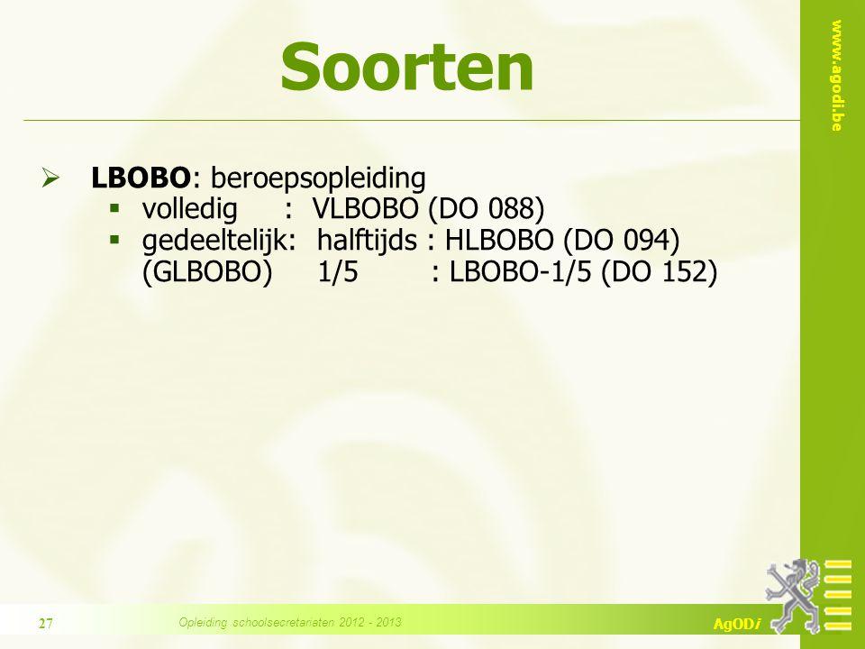 www.agodi.be AgODi Soorten  LBOBO: beroepsopleiding  volledig : VLBOBO (DO 088)  gedeeltelijk: halftijds : HLBOBO (DO 094) (GLBOBO) 1/5 : LBOBO-1/5