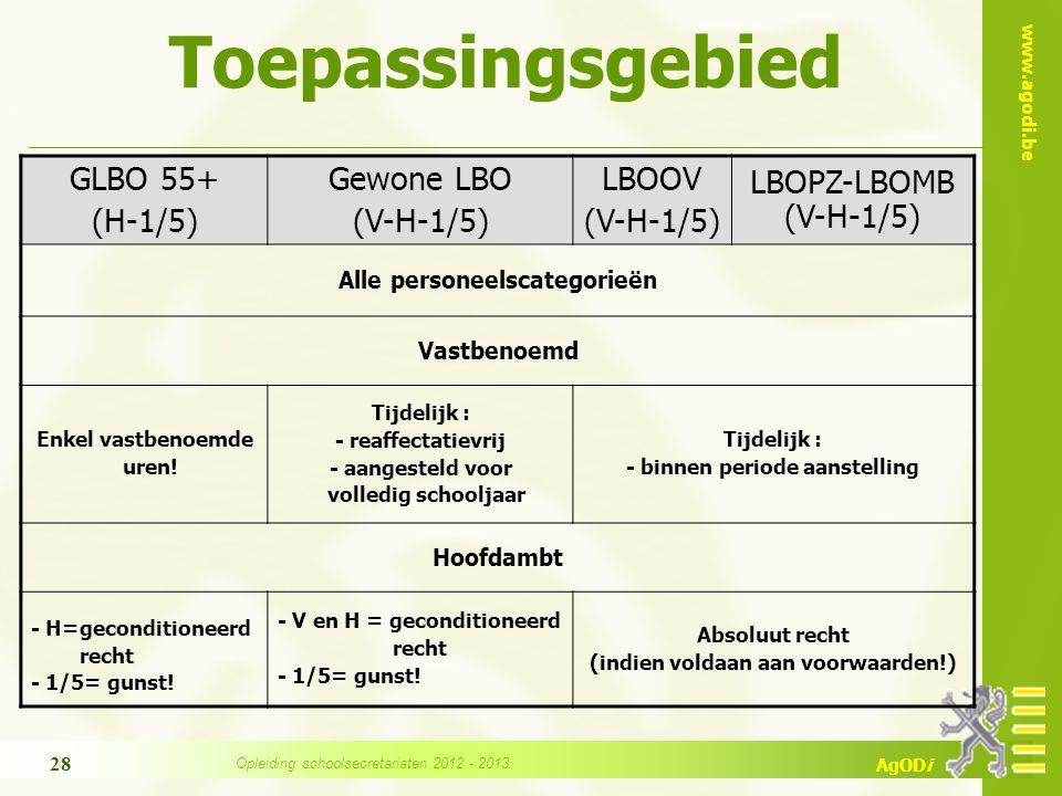 www.agodi.be AgODi Toepassingsgebied GLBO 55+ (H-1/5) Gewone LBO (V-H-1/5) LBOOV (V-H-1/5) LBOPZ-LBOMB (V-H-1/5) Alle personeelscategorieën Vastbenoemd Enkel vastbenoemde uren.