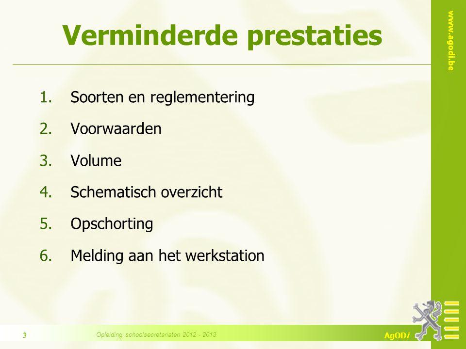 www.agodi.be AgODi Verminderde prestaties 1.Soorten en reglementering 2.Voorwaarden 3.Volume 4.Schematisch overzicht 5.Opschorting 6.Melding aan het w